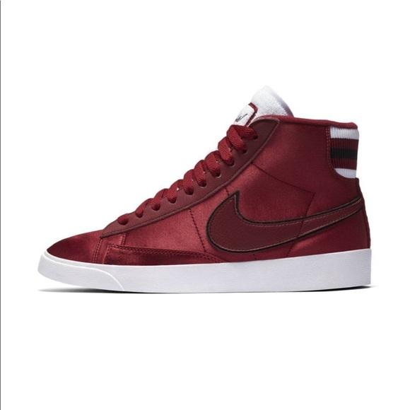 New Nike Blazer Mid Premium Red Satin